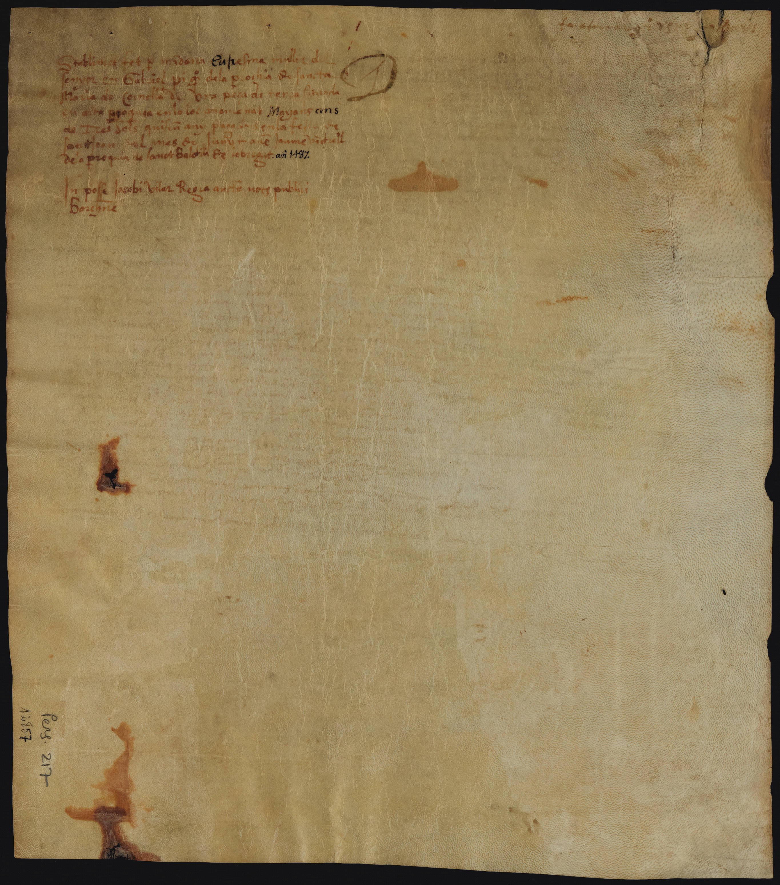 Verso 1487 Eufrasina esposa de Gabriel Pi